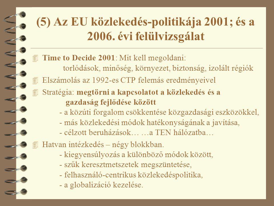 (5) Az EU közlekedés-politikája 2001; és a 2006. évi felülvizsgálat 4 Time to Decide 2001: Mit kell megoldani: torlódások, minőség, környezet, biztons