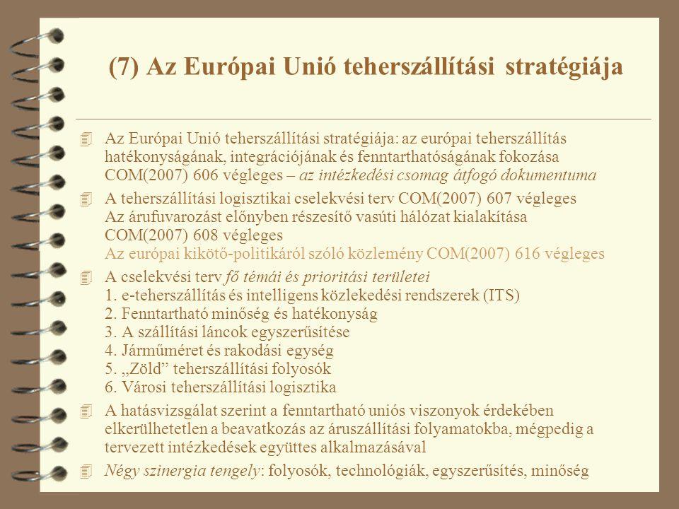 (7) Az Európai Unió teherszállítási stratégiája 4 Az Európai Unió teherszállítási stratégiája: az európai teherszállítás hatékonyságának, integrációjának és fenntarthatóságának fokozása COM(2007) 606 végleges – az intézkedési csomag átfogó dokumentuma 4 A teherszállítási logisztikai cselekvési terv COM(2007) 607 végleges Az árufuvarozást előnyben részesítő vasúti hálózat kialakítása COM(2007) 608 végleges Az európai kikötő-politikáról szóló közlemény COM(2007) 616 végleges 4 A cselekvési terv fő témái és prioritási területei 1.