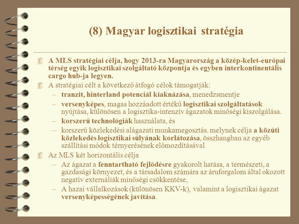 (8) Magyar logisztikai stratégia 4 A MLS stratégiai célja, hogy 2013-ra Magyarország a közép-kelet-európai térség egyik logisztikai szolgáltató központja és egyben interkontinentális cargo hub-ja legyen.