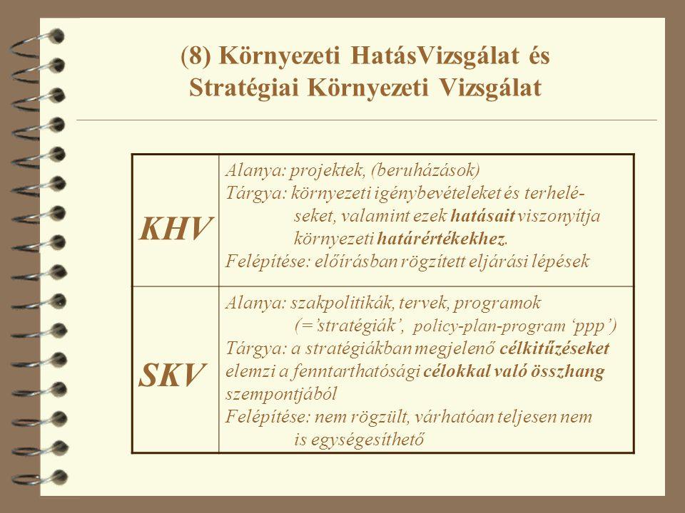 (8) Környezeti HatásVizsgálat és Stratégiai Környezeti Vizsgálat KHV Alanya: projektek, (beruházások) Tárgya: környezeti igénybevételeket és terhelé- seket, valamint ezek hatásait viszonyítja környezeti határértékekhez.