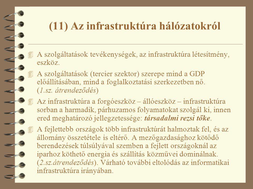 (11) Az infrastruktúra hálózatokról 4 A szolgáltatások tevékenységek, az infrastruktúra létesítmény, eszköz. 4 A szolgáltatások (tercier szektor) szer