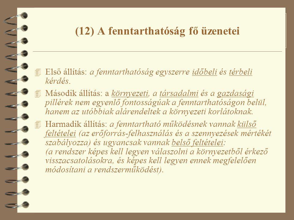 (12) A fenntarthatóság fő üzenetei 4 Első állítás: a fenntarthatóság egyszerre időbeli és térbeli kérdés. 4 Második állítás: a környezeti, a társadalm