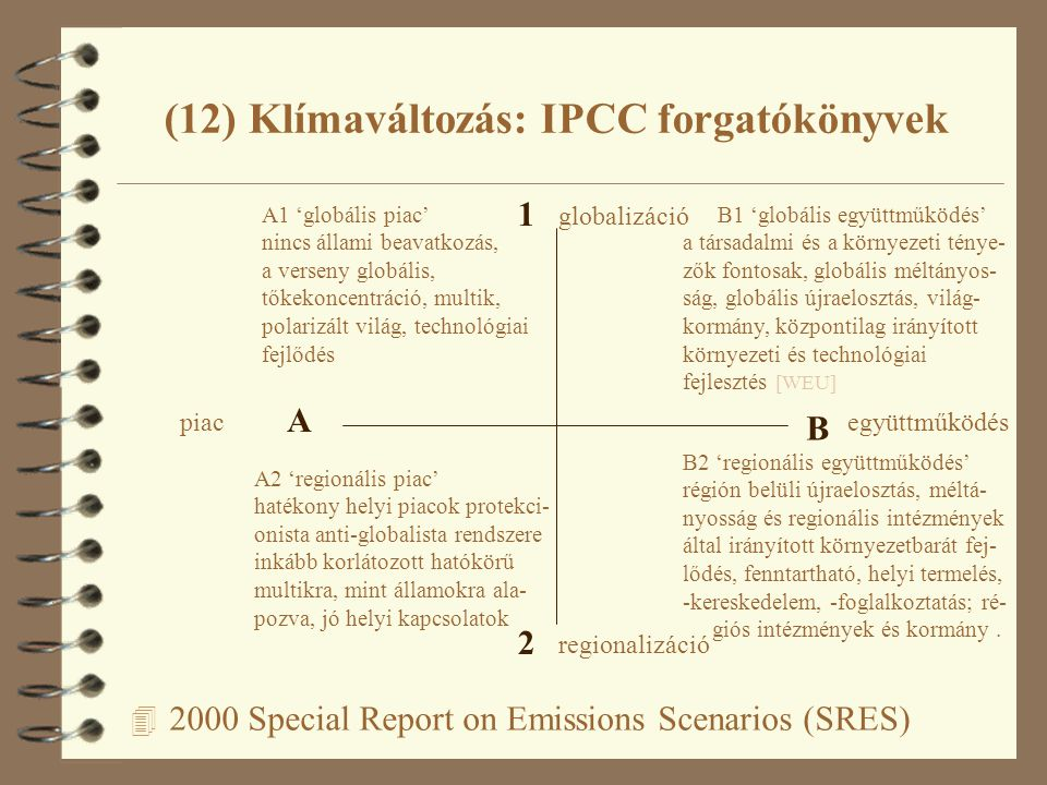 4 2000 Special Report on Emissions Scenarios (SRES) (12) Klímaváltozás: IPCC forgatókönyvek A B 1 2 piacegyüttműködés regionalizáció globalizáció A1 'globális piac' nincs állami beavatkozás, a verseny globális, tőkekoncentráció, multik, polarizált világ, technológiai fejlődés B1 'globális együttműködés' a társadalmi és a környezeti ténye- zők fontosak, globális méltányos- ság, globális újraelosztás, világ- kormány, központilag irányított környezeti és technológiai fejlesztés [WEU] A2 'regionális piac' hatékony helyi piacok protekci- onista anti-globalista rendszere inkább korlátozott hatókörű multikra, mint államokra ala- pozva, jó helyi kapcsolatok B2 'regionális együttműködés' régión belüli újraelosztás, méltá- nyosság és regionális intézmények által irányított környezetbarát fej- lődés, fenntartható, helyi termelés, -kereskedelem, -foglalkoztatás; ré- giós intézmények és kormány.