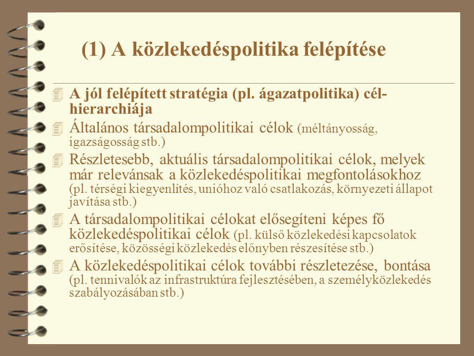 4 A jól felépített stratégia (pl. ágazatpolitika) cél- hierarchiája 4 Általános társadalompolitikai célok (méltányosság, igazságosság stb.) 4 Részlete