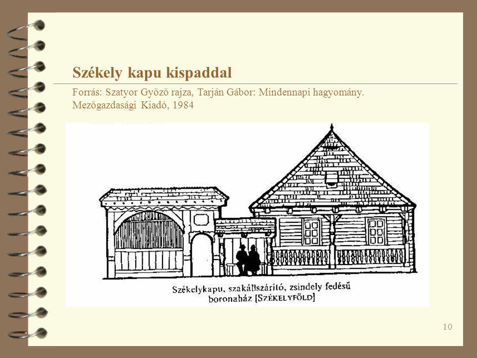 10 Székely kapu kispaddal Forrás: Szatyor Győző rajza, Tarján Gábor: Mindennapi hagyomány.