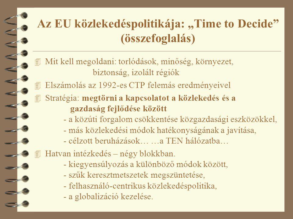 """Az EU közlekedéspolitikája: """"Time to Decide"""" (összefoglalás) 4 Mit kell megoldani: torlódások, minőség, környezet, biztonság, izolált régiók 4 Elszámo"""