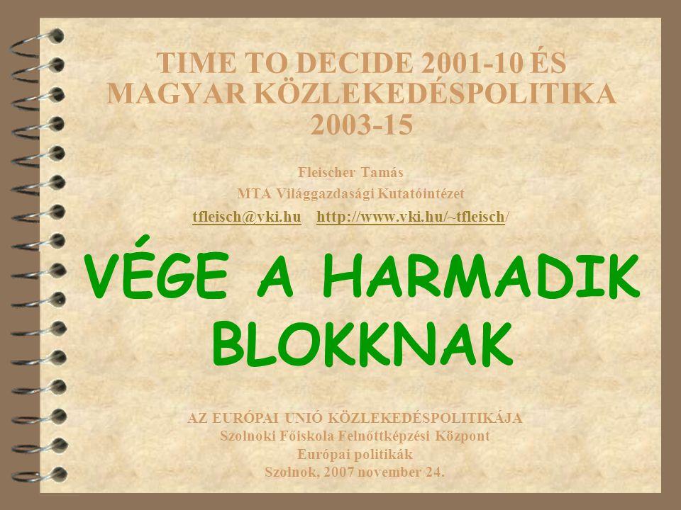 TIME TO DECIDE 2001-10 ÉS MAGYAR KÖZLEKEDÉSPOLITIKA 2003-15 Fleischer Tamás MTA Világgazdasági Kutatóintézet tfleisch@vki.hutfleisch@vki.hu http://www