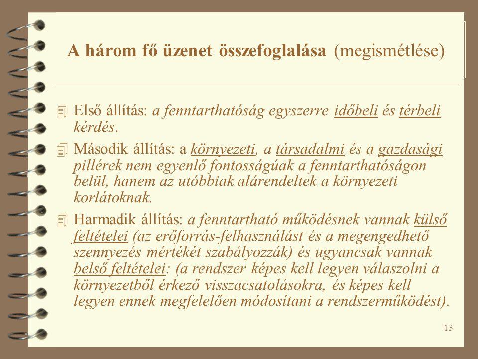 13 A három fő üzenet összefoglalása (megismétlése) 4 Első állítás: a fenntarthatóság egyszerre időbeli és térbeli kérdés.