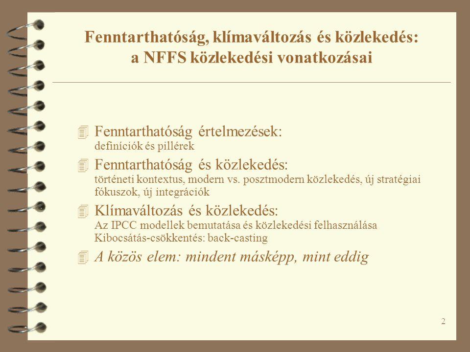 2 Fenntarthatóság, klímaváltozás és közlekedés: a NFFS közlekedési vonatkozásai 4 Fenntarthatóság értelmezések: definíciók és pillérek 4 Fenntarthatóság és közlekedés: történeti kontextus, modern vs.