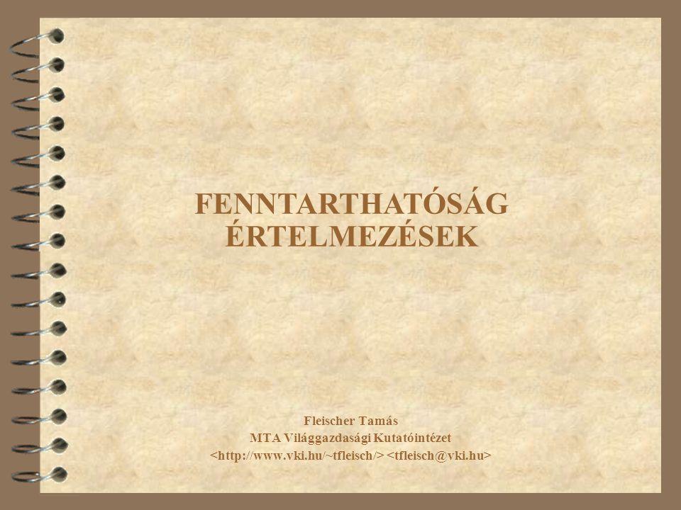 Fleischer Tamás MTA Világgazdasági Kutatóintézet FENNTARTHATÓSÁG ÉRTELMEZÉSEK