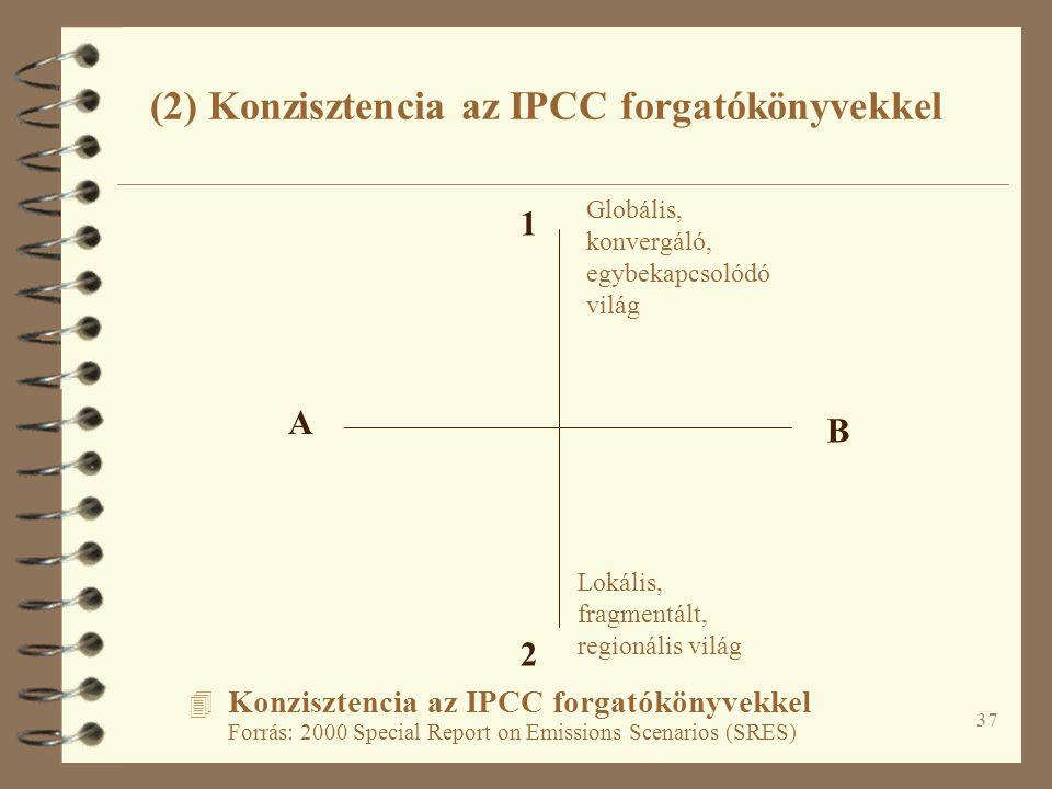37 4 Konzisztencia az IPCC forgatókönyvekkel Forrás: 2000 Special Report on Emissions Scenarios (SRES) A B 1 2 Lokális, fragmentált, regionális világ Globális, konvergáló, egybekapcsolódó világ (2) Konzisztencia az IPCC forgatókönyvekkel