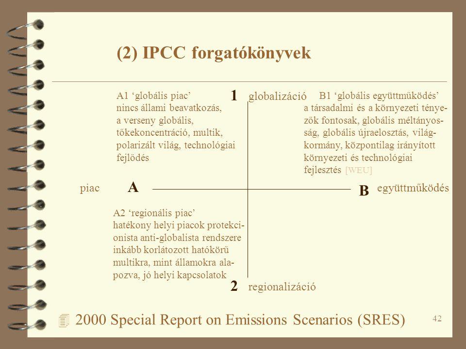 42 4 2000 Special Report on Emissions Scenarios (SRES) A B 1 2 piacegyüttműködés regionalizáció globalizáció A1 'globális piac' nincs állami beavatkozás, a verseny globális, tőkekoncentráció, multik, polarizált világ, technológiai fejlődés B1 'globális együttműködés' a társadalmi és a környezeti ténye- zők fontosak, globális méltányos- ság, globális újraelosztás, világ- kormány, központilag irányított környezeti és technológiai fejlesztés [WEU] A2 'regionális piac' hatékony helyi piacok protekci- onista anti-globalista rendszere inkább korlátozott hatókörű multikra, mint államokra ala- pozva, jó helyi kapcsolatok (2) IPCC forgatókönyvek