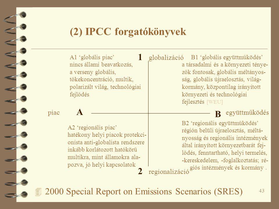 43 4 2000 Special Report on Emissions Scenarios (SRES) A B 1 2 piacegyüttműködés regionalizáció globalizáció A1 'globális piac' nincs állami beavatkozás, a verseny globális, tőkekoncentráció, multik, polarizált világ, technológiai fejlődés B1 'globális együttműködés' a társadalmi és a környezeti ténye- zők fontosak, globális méltányos- ság, globális újraelosztás, világ- kormány, központilag irányított környezeti és technológiai fejlesztés [WEU] A2 'regionális piac' hatékony helyi piacok protekci- onista anti-globalista rendszere inkább korlátozott hatókörű multikra, mint államokra ala- pozva, jó helyi kapcsolatok B2 'regionális együttműködés' régión belüli újraelosztás, méltá- nyosság és regionális intézmények által irányított környezetbarát fej- lődés, fenntartható, helyi termelés, -kereskedelem, -foglalkoztatás; ré- giós intézmények és kormány.