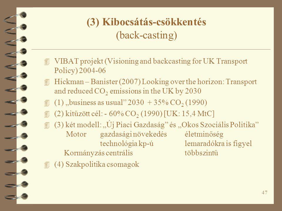 """47 (3) Kibocsátás-csökkentés (back-casting) 4 VIBAT projekt (Visioning and backcasting for UK Transport Policy) 2004-06 4 Hickman – Banister (2007) Looking over the horizon: Transport and reduced CO 2 emissions in the UK by 2030 4 (1) """"business as usual 2030 + 35% CO 2 (1990) 4 (2) kitűzött cél: - 60% CO 2 (1990) [UK: 15,4 MtC] 4 (3) két modell: """"Új Piaci Gazdaság és """"Okos Szociális Politika Motorgazdasági növekedéséletminőség technológia kp-úlemaradókra is figyel Kormányzás centrálistöbbszintű 4 (4) Szakpolitika csomagok"""