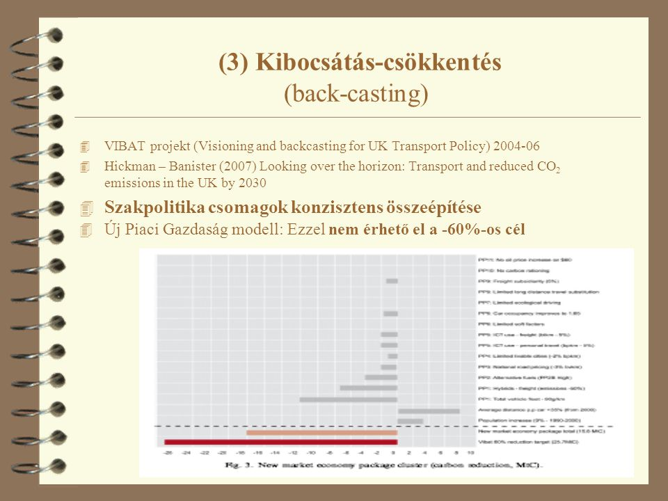 49 (3) Kibocsátás-csökkentés (back-casting) 4 VIBAT projekt (Visioning and backcasting for UK Transport Policy) 2004-06 4 Hickman – Banister (2007) Looking over the horizon: Transport and reduced CO 2 emissions in the UK by 2030 4 Szakpolitika csomagok konzisztens összeépítése 4 Új Piaci Gazdaság modell: Ezzel nem érhető el a -60%-os cél