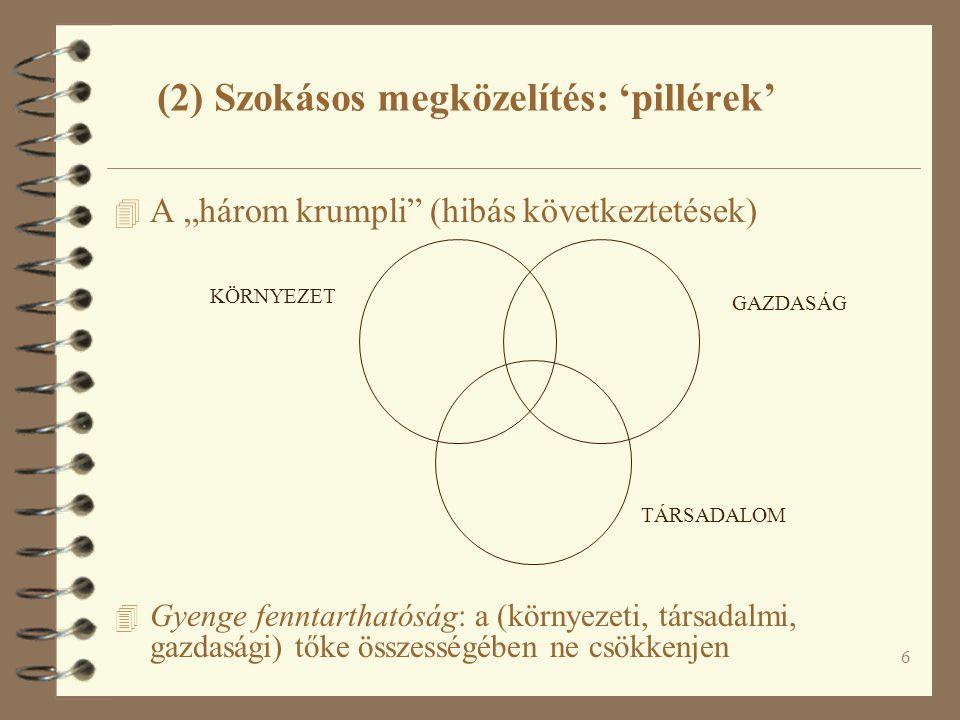 """6 (2) Szokásos megközelítés: 'pillérek' 4 A """"három krumpli (hibás következtetések) 4 Gyenge fenntarthatóság: a (környezeti, társadalmi, gazdasági) tőke összességében ne csökkenjen KÖRNYEZET TÁRSADALOM GAZDASÁG"""