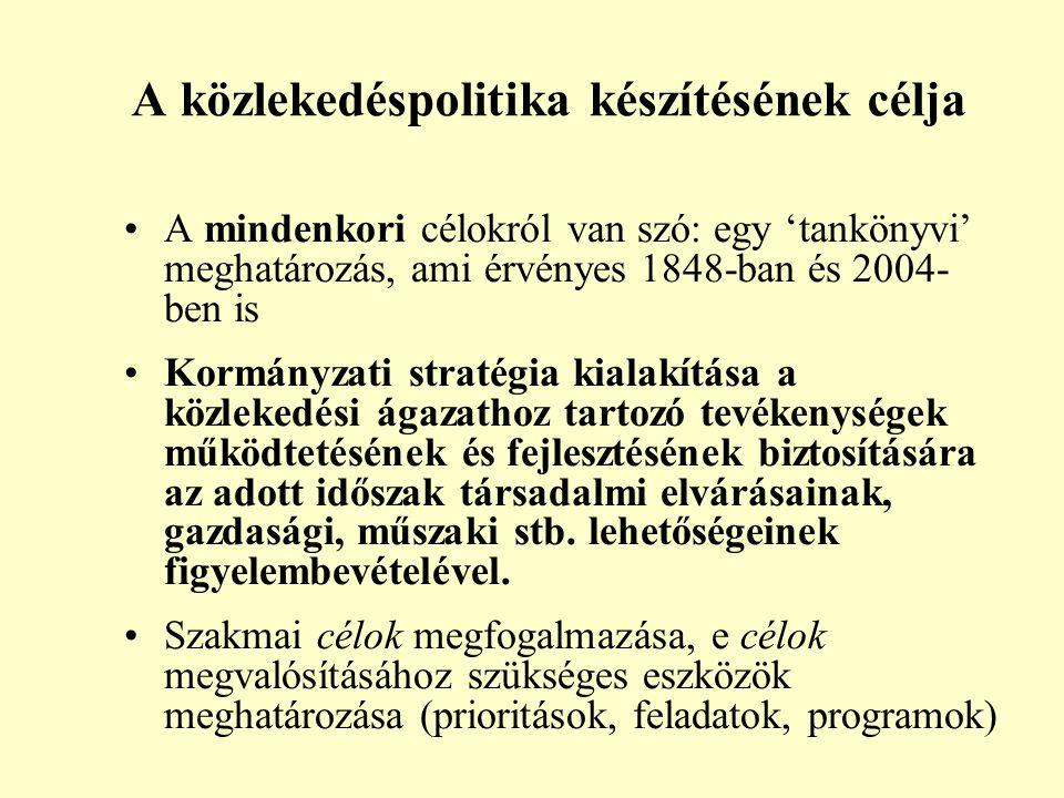 A közlekedéspolitika készítésének célja A mindenkori célokról van szó: egy 'tankönyvi' meghatározás, ami érvényes 1848-ban és 2004- ben is Kormányzati