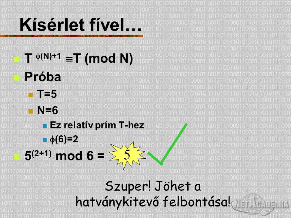 Kísérlet fível… T  (N)+1  T (mod N) Próba T=5 N=6 Ez relatív prím T-hez  (6)=2 5 (2+1) mod 6 = 5 Szuper! Jöhet a hatványkitevő felbontása!