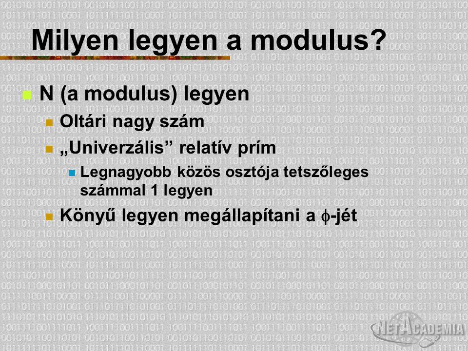 """Milyen legyen a modulus? N (a modulus) legyen Oltári nagy szám """"Univerzális"""" relatív prím Legnagyobb közös osztója tetszőleges számmal 1 legyen Könyű"""
