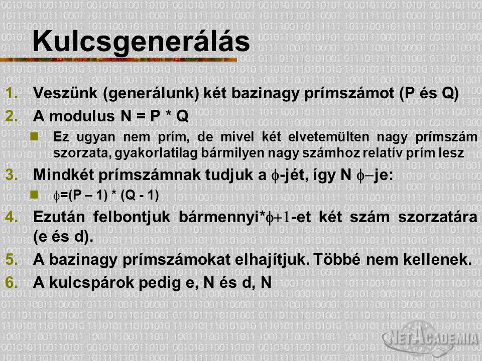 Kulcsgenerálás 1.Veszünk (generálunk) két bazinagy prímszámot (P és Q) 2.A modulus N = P * Q Ez ugyan nem prím, de mivel két elvetemülten nagy prímszá
