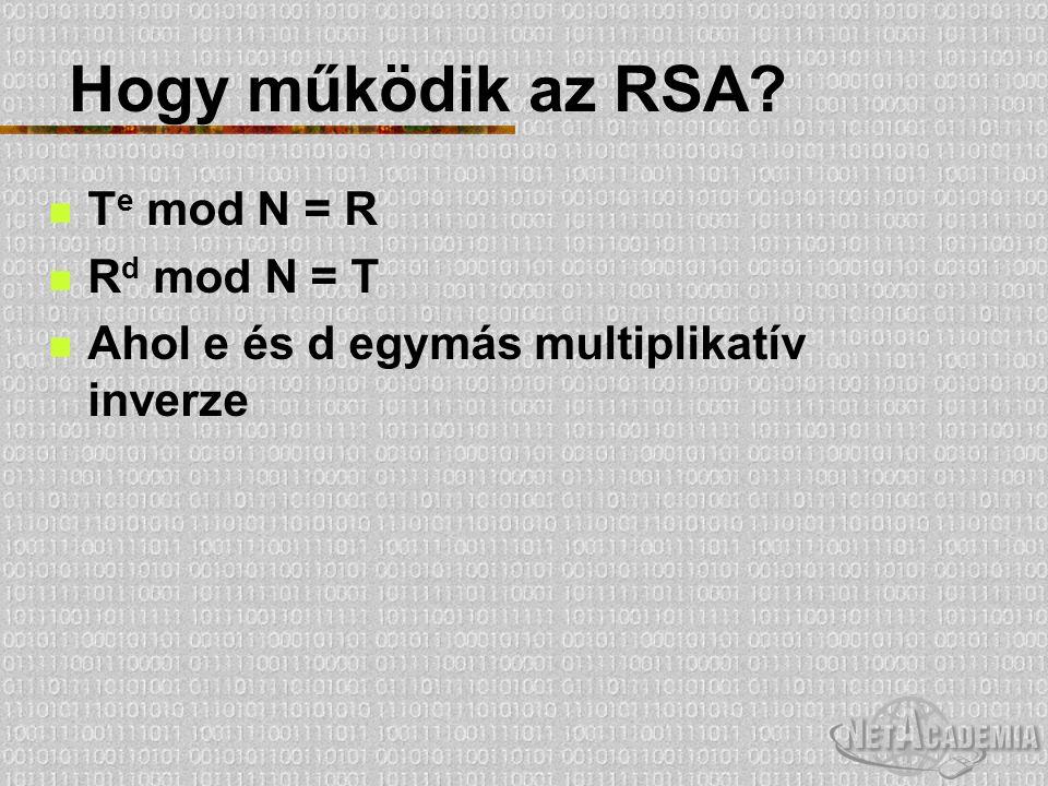 """Gyenge pontok Az RSA gyenge pontja nem az algoritmus, hanem a kulcsgenerálás Az RSA addig """"él , amíg nincs jobb módszer N prímtényezőkre bontásához, mint a próbálgatás Az RSA Labs pályázatot hirdet prímtényezőkre bontásra 576 bites: 10.000$ 2048 bites: 200.000$ http://www.rsasecurity.com/rsalabs/challenges/ factoring/index.html"""
