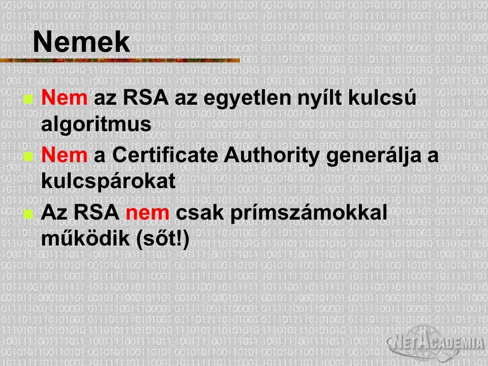 Nemek Nem az RSA az egyetlen nyílt kulcsú algoritmus Nem a Certificate Authority generálja a kulcspárokat Az RSA nem csak prímszámokkal működik (sőt!)