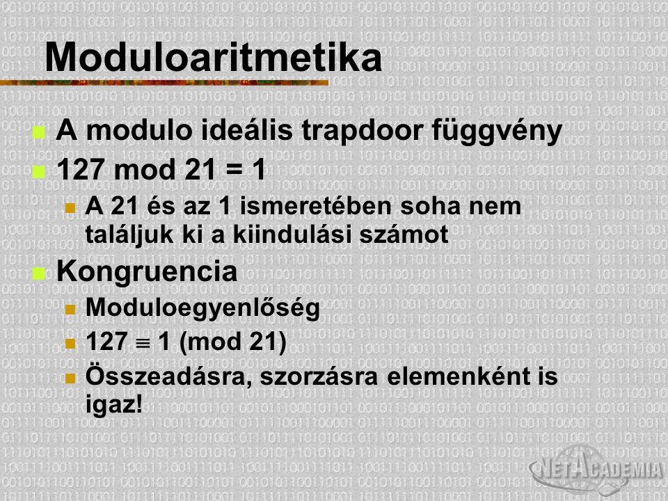 Moduloaritmetika A modulo ideális trapdoor függvény 127 mod 21 = 1 A 21 és az 1 ismeretében soha nem találjuk ki a kiindulási számot Kongruencia Modul