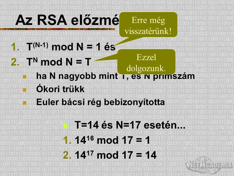 Az RSA előzményei 1.T (N-1) mod N = 1 és 2.T N mod N = T ha N nagyobb mint T, és N prímszám Ókori trükk Euler bácsi rég bebizonyította Erre még vissza