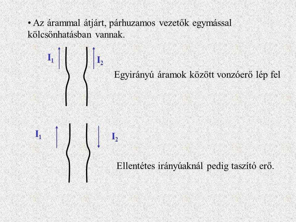 Az árammal átjárt, párhuzamos vezetők egymással kölcsönhatásban vannak. I1I1 I2I2 Egyirányú áramok között vonzóerő lép fel I1I1 I2I2 Ellentétes irányú