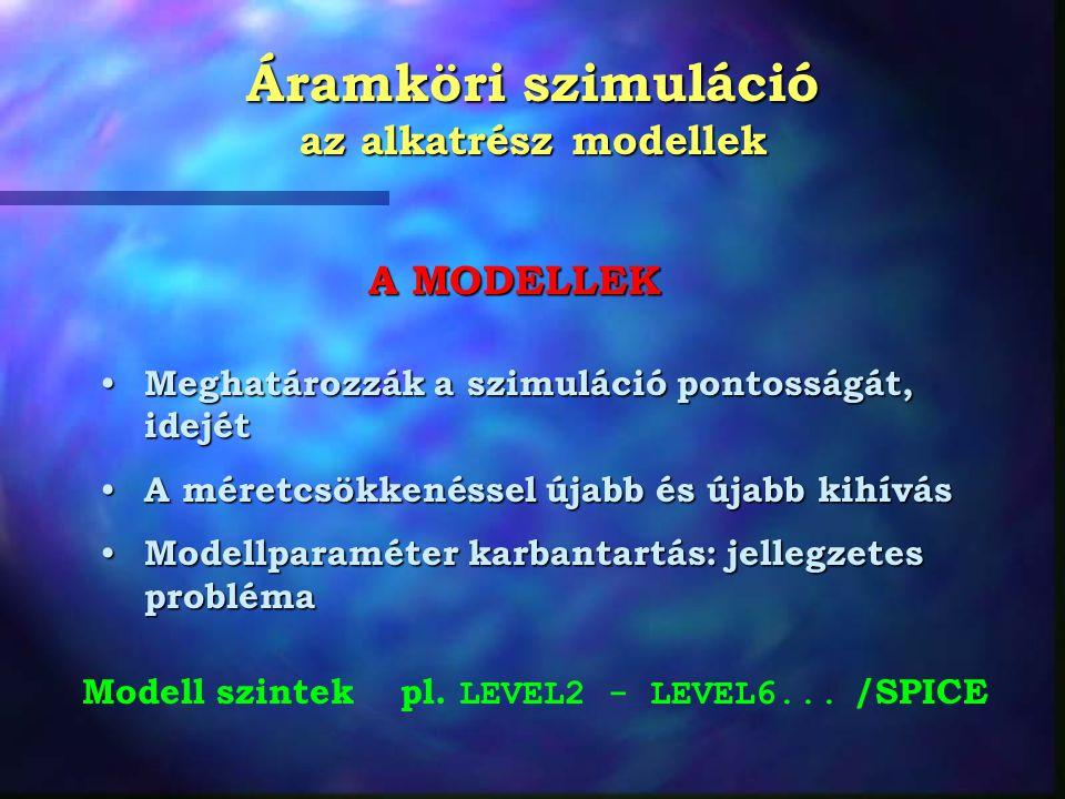 Áramköri szimuláció az alkatrész modellek Meghatározzák a szimuláció pontosságát, idejét Meghatározzák a szimuláció pontosságát, idejét A méretcsökkenéssel újabb és újabb kihívás A méretcsökkenéssel újabb és újabb kihívás Modellparaméter karbantartás: jellegzetes probléma Modellparaméter karbantartás: jellegzetes probléma A MODELLEK Modell szintek pl.