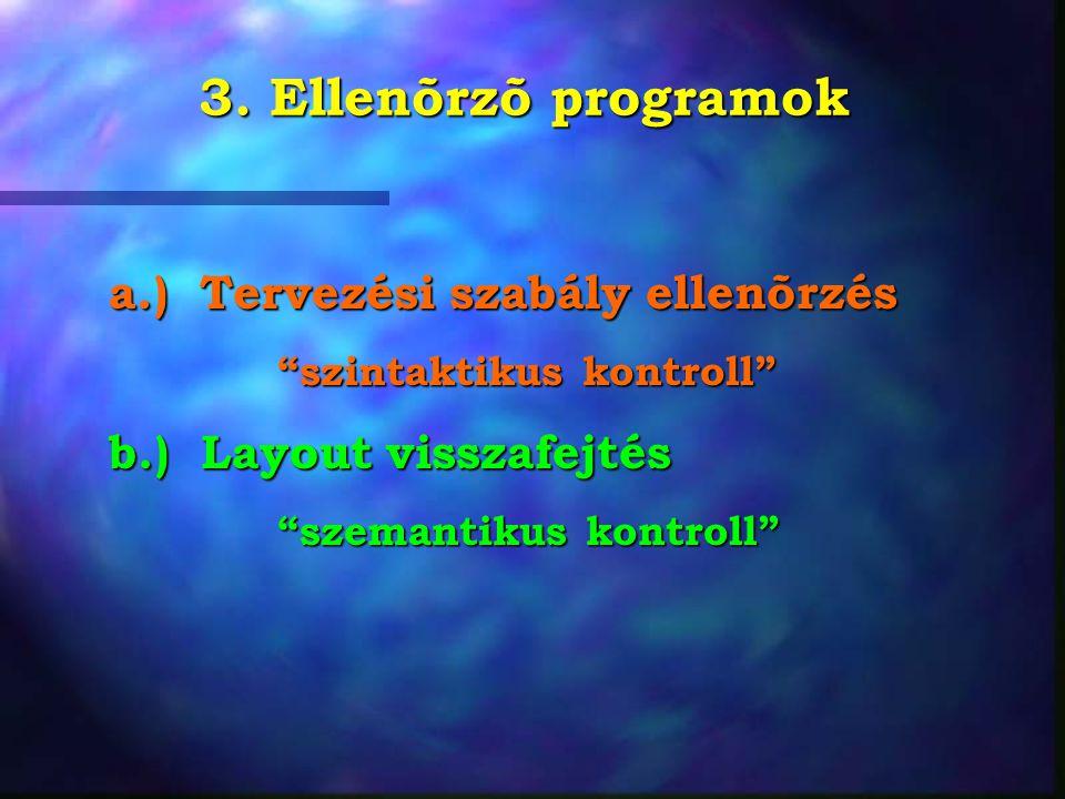 """3. Ellenõrzõ programok a.) Tervezési szabály ellenõrzés """"szintaktikus kontroll"""" """"szintaktikus kontroll"""" b.) Layout visszafejtés """"szemantikus kontroll"""""""