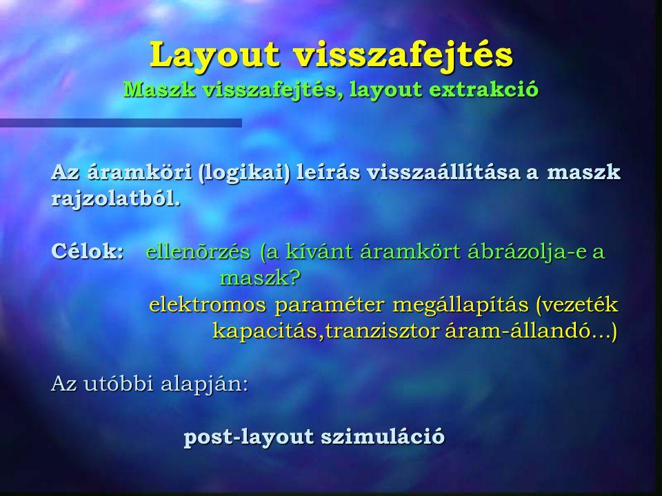 Layout visszafejtés Maszk visszafejtés, layout extrakció Az áramköri (logikai) leírás visszaállítása a maszk rajzolatból.