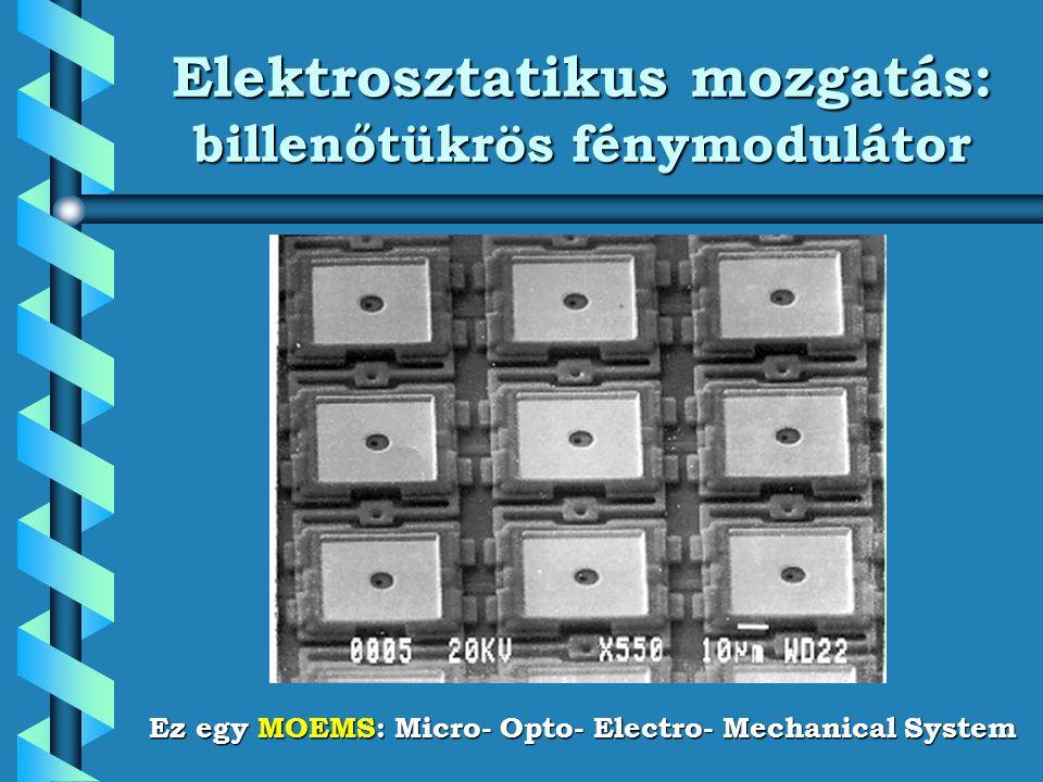 Elektrosztatikus mozgatás: billenőtükrös fénymodulátor Ez egy MOEMS: Micro- Opto- Electro- Mechanical System