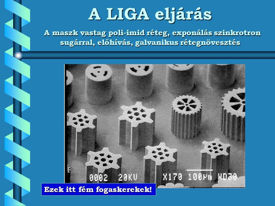 A LIGA eljárás A maszk vastag poli-imid réteg, exponálás szinkrotron sugárral, előhívás, galvanikus rétegnövesztés Ezek itt fém fogaskerekek!