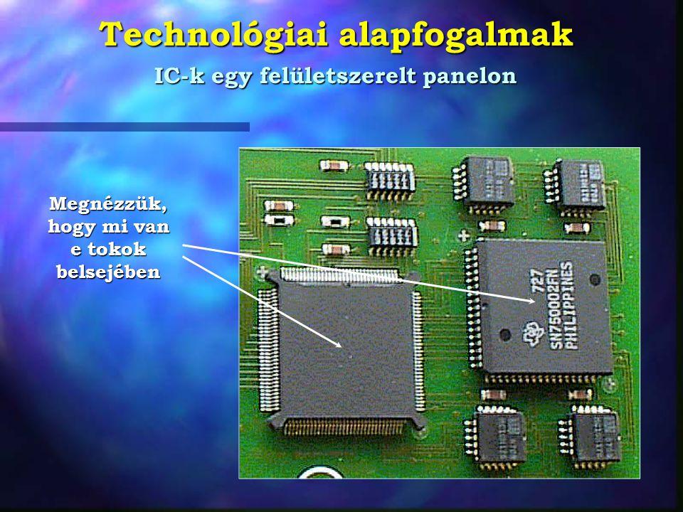 Technológiai alapfogalmak Szelet és chip A ma használt szelet átmérõk: 12,5 - 15 - 17,5 - 20 cm Egyforma chipek Egy szeleten 100-2000 chip készül egyszerre!