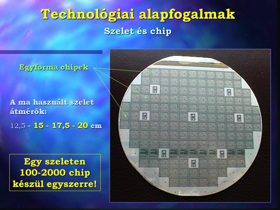 Technológiai alapfogalmak Szelet és chip A ma használt szelet átmérõk: 12,5 - 15 - 17,5 - 20 cm Egyforma chipek Egy szeleten 100-2000 chip készül egys