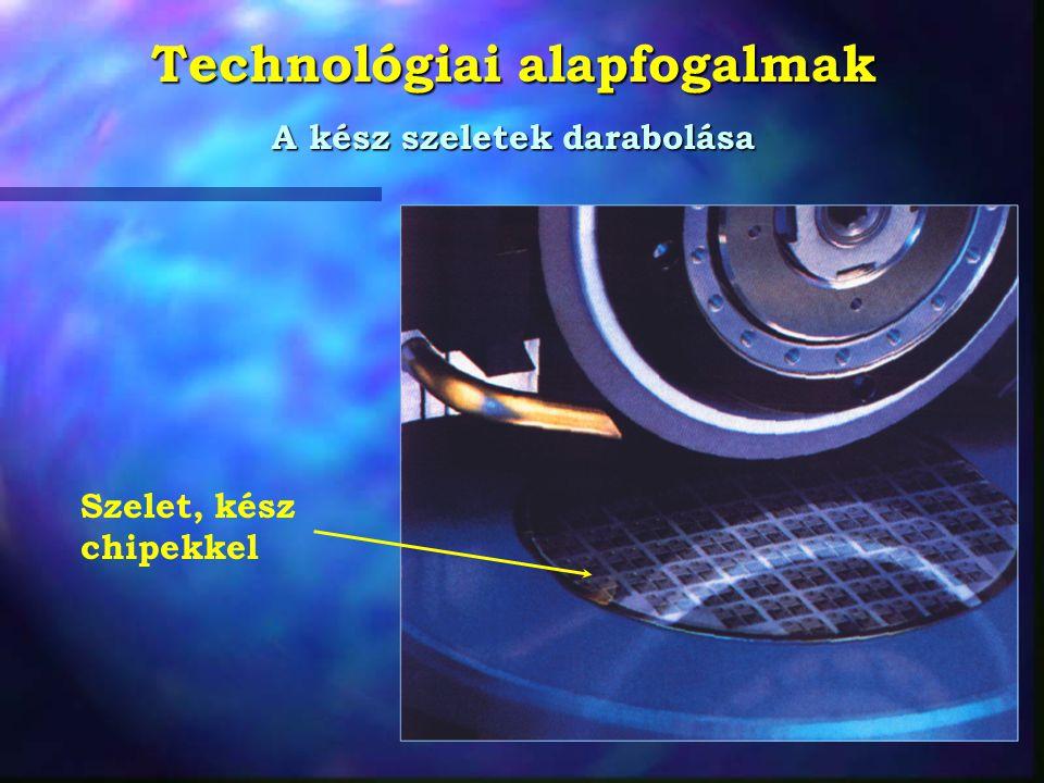 Technológiai alapfogalmak Egy egyszerû IC chip fénymikroszkópi képe  A 741 A különbözõ vastagságú oxidréteggel fedett területek különbözõ színûnek látszanak