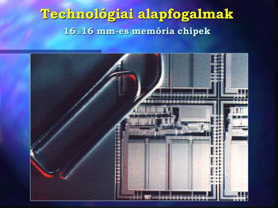 Technológiai alapfogalmak Csíkszélesség, feature size Diffúziós csík Fémezés csík Elektron-mikroszkópos felvétel A kezdetekkor: 12 - 15  m 12 - 15  m Ma (1999) 0,18 - 0,35  m 0,18 - 0,35  m