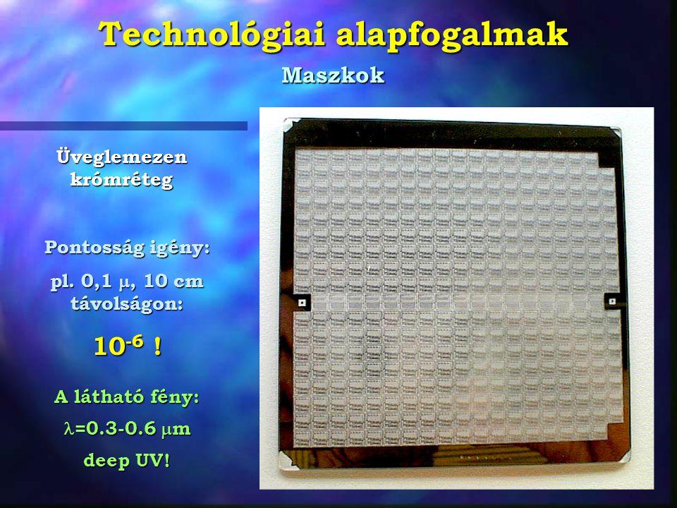 Technológiai alapfogalmak Maszkok Üveglemezen krómréteg Pontosság igény: pl. 0,1 , 10 cm távolságon: 10 -6 ! A látható fény: =0.3-0.6  m =0.3-0.6 