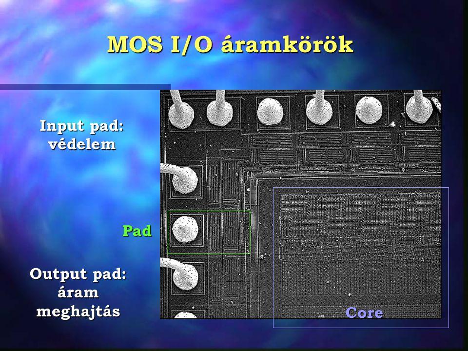 MOS I/O áramkörök Core Pad Input pad: védelem Output pad: áram meghajtás