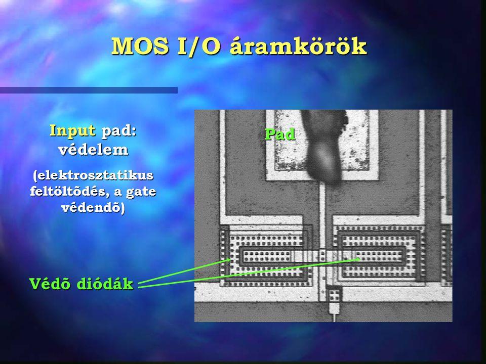 MOS I/O áramkörök Pad Input pad: védelem (elektrosztatikus feltöltõdés, a gate védendõ) Védõ diódák