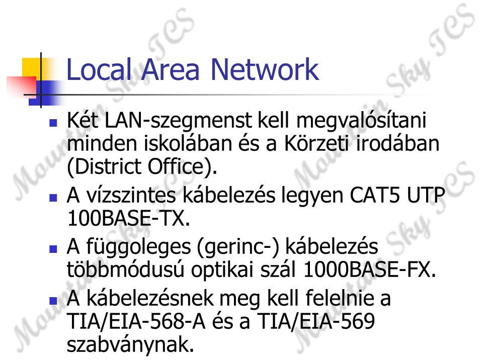 Local Area Network Két LAN-szegmenst kell megvalósítani minden iskolában és a Körzeti irodában (District Office). A vízszintes kábelezés legyen CAT5 U