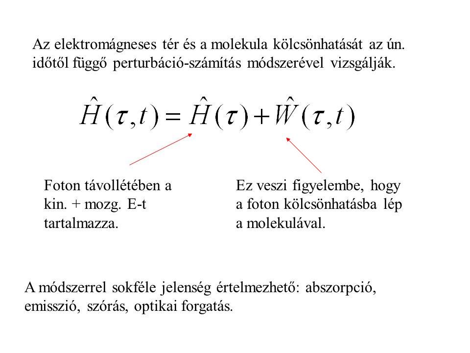 Az elektromágneses tér és a molekula kölcsönhatását az ún.