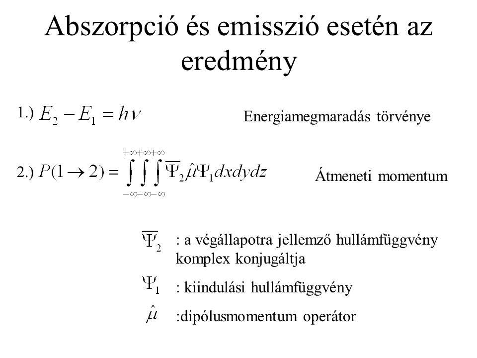 Abszorpció és emisszió esetén az eredmény 1.) 2.) Energiamegmaradás törvénye Átmeneti momentum : a végállapotra jellemző hullámfüggvény komplex konjugáltja : kiindulási hullámfüggvény :dipólusmomentum operátor