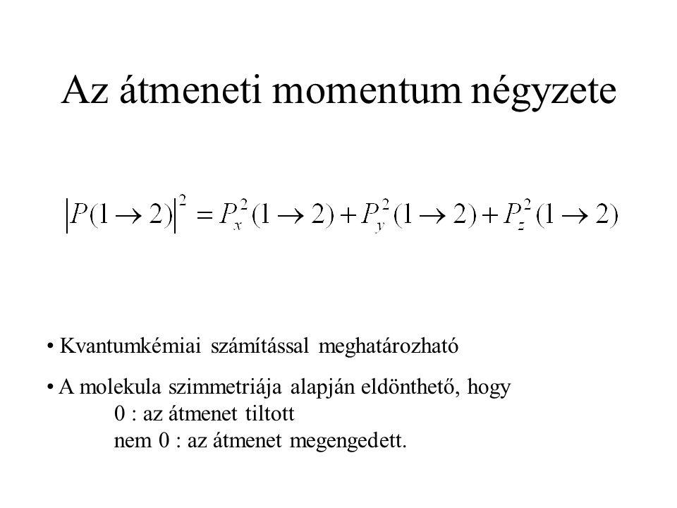 Az átmeneti momentum négyzete Kvantumkémiai számítással meghatározható A molekula szimmetriája alapján eldönthető, hogy 0 : az átmenet tiltott nem 0 : az átmenet megengedett.