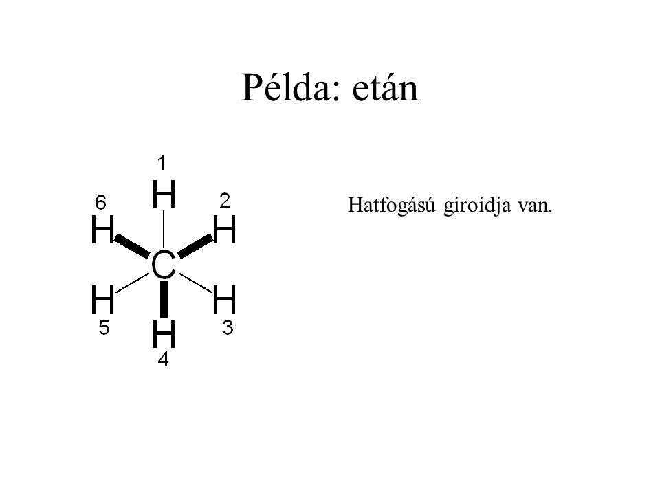 Példa: etán Hatfogású giroidja van.