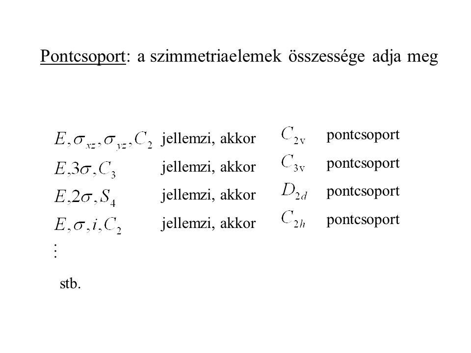 Pontcsoport: a szimmetriaelemek összessége adja meg jellemzi, akkor pontcsoport stb.