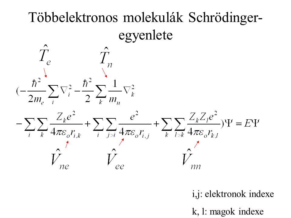 Többelektronos molekulák Schrödinger- egyenlete i,j: elektronok indexe k, l: magok indexe