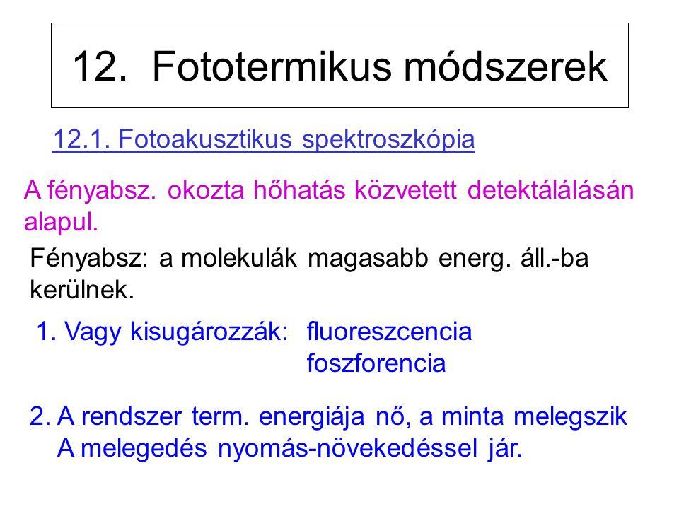 12. Fototermikus módszerek 1. Vagy kisugározzák: fluoreszcencia foszforencia A fényabsz. okozta hőhatás közvetett detektálálásán alapul. Fényabsz: a m