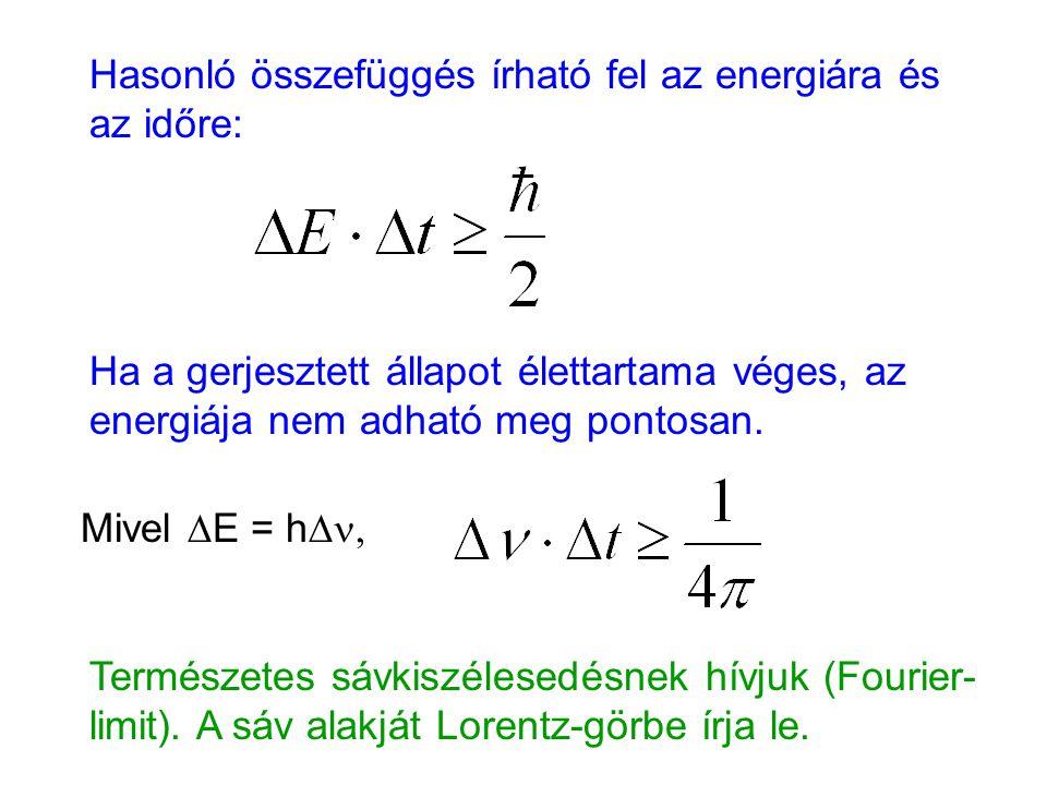 Hasonló összefüggés írható fel az energiára és az időre: Ha a gerjesztett állapot élettartama véges, az energiája nem adható meg pontosan. Mivel  E =